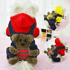 Cute Puppy Pet Dog Warm Hoodie Bear Overall Coat Clothes Hooded Jumpsuit Outwear
