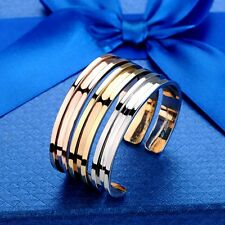 Stainless Steel Titanium Hair Tie Holder Bracelet Cuff Bangle Wristband Grooved