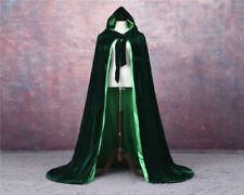 Satin Lined Emerald Green Hooded Velvet Halloween Cloak Renaissance Cape S-XXL