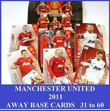 Choose Adrenalyn XL MANCHESTER UNITED 2011 Man Utd Away Base Cards 31-60 Panini