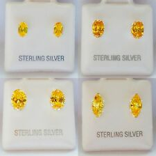 Sterling Silver Oval Cut CZ Citrine Stud Earrings November Birthstone -4 Sizes