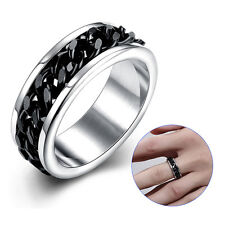 Stainless Steel Ring 316L with portable Chain Rotary unisex Spin black (RE37)