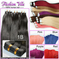 Remy Tape In Human Hair Extensions Grade 8A Smooth Silky Straight Hair Skin Weft