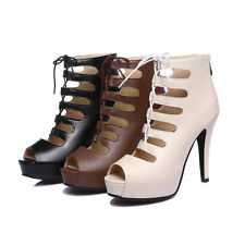 AU Size New Synthetic Leather High Heel Women Shoes Zip Laces Lady Sandals s495