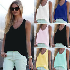 Summer Women Sleeveless V Neck Casual Loose Chiffon T Shirt Blouse Tee Vest Tops