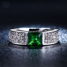 Women's S925 White Gold Plated Gorgeous Cubic Zircon Emerald Eternity Ring Band