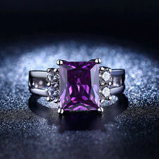 CZ Amethyst Birthstone Square Cut S925 White Gold Plated Modern Style Women Ring