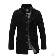 Mens windbreaker long slim fit stand collar wool section coat jackets parka New