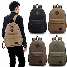 Men's Vintage Canvas Backpack Rucksack Laptop Shoulder School Travel Camping Bag