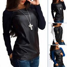 Womens Long Sleeve Casual Blouse Tee PU Leather Patchwork T-Shirt Jumper Tops