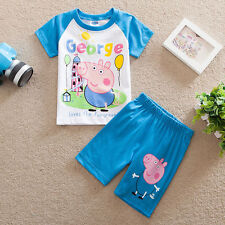Peppa Pig Boys Toddler Kids Short Sleeve & Shorts 2PC Set Birthday Outfits Sets