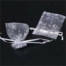 50/100 7x9cm Snowflake White Jewelry Candy Organza Pouch Wedding Favor Gift Bag