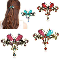 Vintage Women Turquoise Butterfly Crystal Flower Hairpins Hair Barrettes Clip