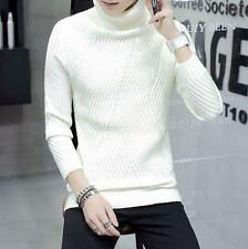 Mens Knitted Wool cotton pull on Turtleneck Tees Tops Winter Thicken sweater New