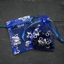 Premium Blue Butterfly Organza Gift Bags/Wedding Favours Jewellery Pouches