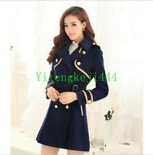 Womens Wool Blend Parka Double Breasted Jacket Trench Coat Slim Military New YT