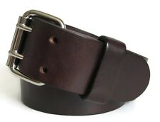 "1.75"" Wide Heavy Duty Dark Brown Leather Belt Mens 2 Prong Buckle Handmade USA"
