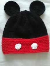 Babies hand knitted mickey mouse hat 0-6 6-12 and 12-18 months