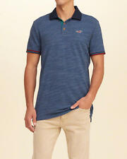 NWT Hollister By Abercrombie and Fitch Pattern Tipped Navy Blue Pique Polo Shirt