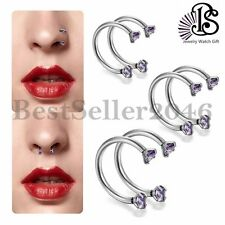 BS 2PCS Jewelry Ring Earring Stainless Steel Nose Open Hoop Body Piercing Stud
