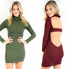 Sexy Backless High Collar Long Sleeve Evening Party Cocktail Clubwear Mini Dress