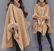 Chic New Womens Coat Wool Blend Ponchos Wrap Cape Collar Loose Stylish Chic