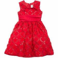 RARE EDITIONS RED SEQUIN and SOUTACHE TO MESH DRESS GIRLS TODDLER