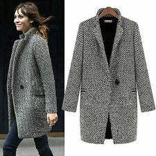 Womens Lapel Wool Cashmere Coat Trench Jacket Winter Long Blazer Parka Outwear