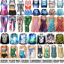 Womens 3D Digital Graphic Print One-Piece Bikini Dress Tank Top Leggings Hoodies