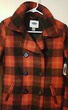 Brand New Women's Old Navy Pea Coat RED BLACK Plaid XS NWT Winter COLD x-small