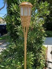 """4 5-LEDs Solar Flickering Amber Bamboo Tiki Torch Landscape Stake Light 62"""" Tall"""