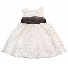 Rare Editions Floral Rhinestone Soutache Dress Baby Girls Ivory Holidays New