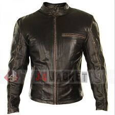 Vintage Motorcycle Mens Real Distressed Brown Cafe Racer Winter Leather Jacket