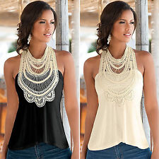 Sexy Womens Summer Lace Vest Tops Casual Sleeveless Crop Blouse Tank T-Shirt Top
