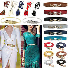 Womens Vivid Braided Long Fringes Waist Belt Narrow Thin Buckle Strap Waistband