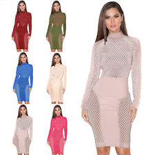 Stylish Women Hollow Sexy Bandage Dress Long Sleeve Dress Party Formal Dress New