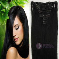 """16""""20""""24""""Remy Real Clip In Human Hair Extension 60g 80g100g120g140g Jet Black"""