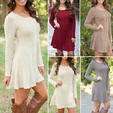 Womens Long Sleeve Knitted Sweater Pullover Swing Skater Dress Casual Jumper Top