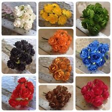 50 Artificial Mulberry Paper Rose flowers Petal Handmade Scrap-booking 2.5 cm #C