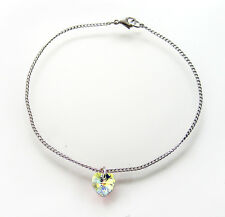 Sterling Silver & Crystal Love Heart Anklet with SWAROVSKI ELEMENTS - Crystal AB