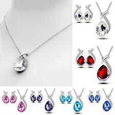 Jewelry Chain Chic Pendant Necklace Set Stud Earring Silver Plated