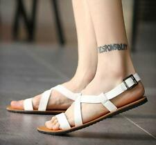 Mens Fashion roma open toe strap beach sandals flat buckle summer shoes New YT@@