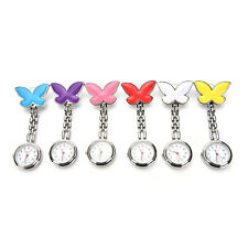 Cute Pendant Butterfly Nurse Clip-on Brooch Quartz Hanging Pocket Watch New CL