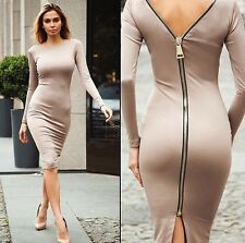 Women Sexy Long Sleeve Backless Dress Bodycon Cocktail Evening Party Mini Dress