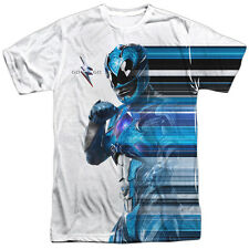 MIGHTY MORPHIN POWER RANGERS - Blue Streak Sublimation 100% Poly T-Shirt S-3XL