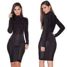 Women Long Sleeve Hollow Out Bandage Bodycon Evening Party Cocktail Club Dress