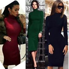 Women Sexy Long Sleeve Collar Package Hip Clubwear Evening Party Pencil Dresses