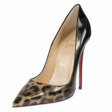 Christian Louboutin Follie Black & Leopard Patent Leather 100 Pumps