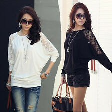 Fashion Womens Batwing Tops Dolman Long Sleeve T-Shirts Casual Sexy Lace Blouses