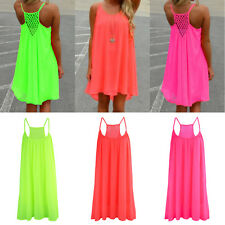 Boho Women Chiffon Casual Sleeveless Sundress Cami Strappy Tank Short Mini Dress